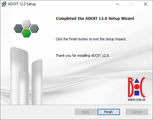 Installing ADOIT (4) – Installation finished successfully