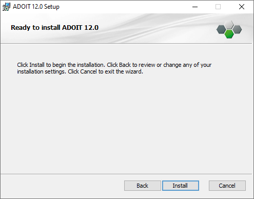 Installing ADOIT (3) – ready to install