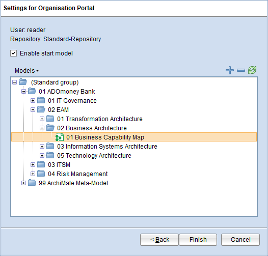 Organisation Portal and Explore & Contribute: configure start model
