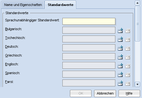 Attribut anlegen – Standardwerte
