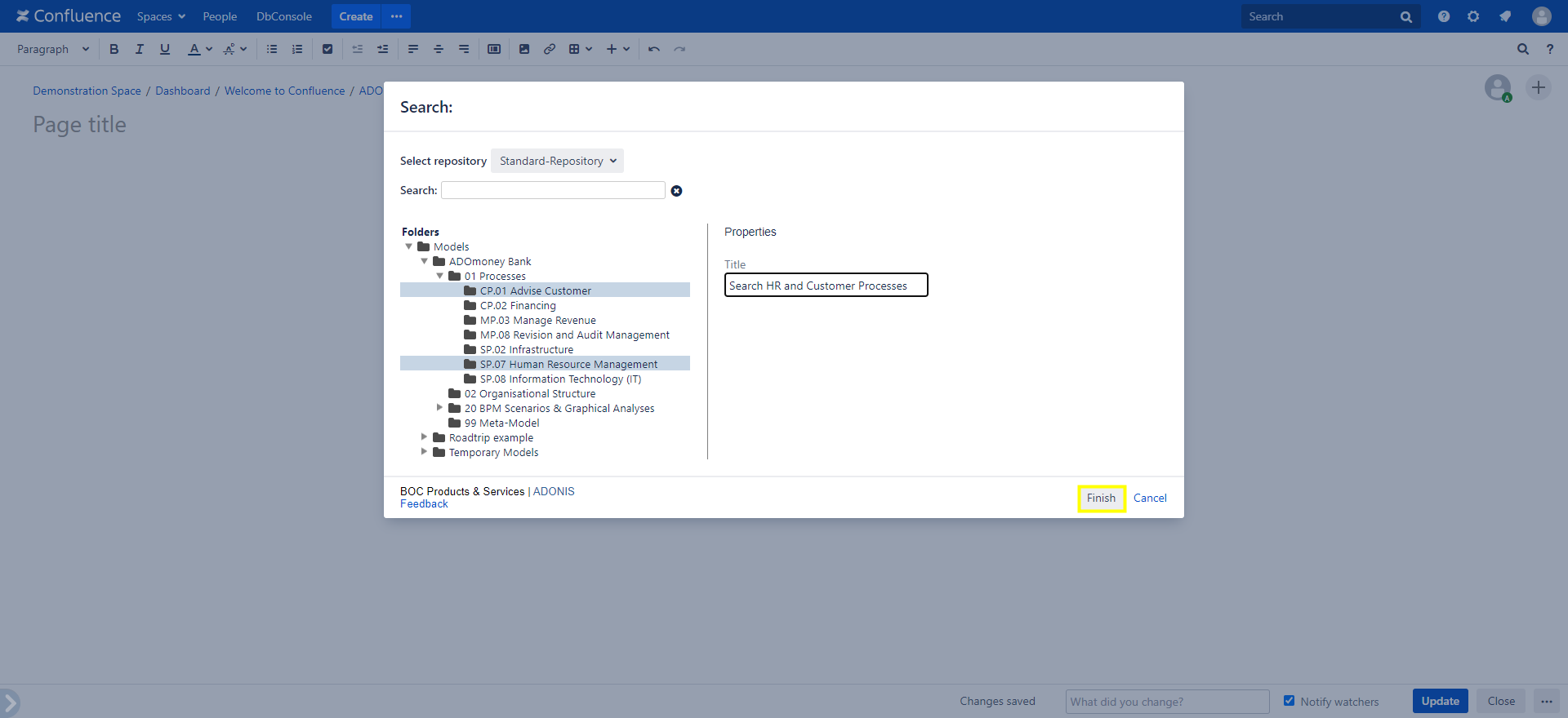 ADONIS Model Search macro configuration
